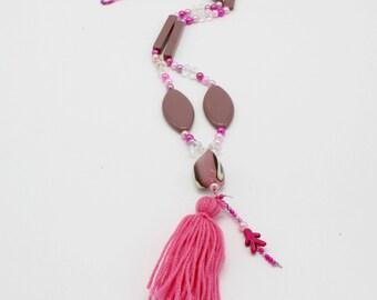 Pink Tassel necklace, festival jewelry, tribal necklace,boho necklace, accessories,  necklace,sautoir fantaisie, sautoir tendances