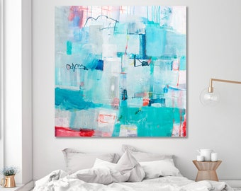 Large Coastal Painting, Abstract Painting,  large beach painting canvas,  large ocean painting abstract, nautical painting aqua coral red AF