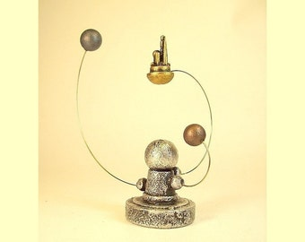 Flying Gold City Near Miniature Alien White Dwarf Star and Planet Orrery System in Wood Table or MAGNET