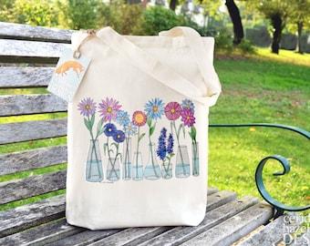 Flowers Bag, Ethically Produced Reusable Shopper Bag, Cotton Tote, Shopping Bag, Eco Tote Bag, Stocking Filler