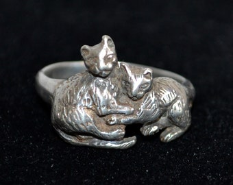 Vintage Sterling Silver Two Cats Kittens Sz 9 3/4