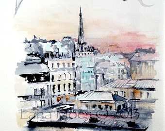 Paris Print Watercolor - Travel Art Painting - Lana Moes Travel Collection - French Poster - Travel Poster Art - Art Decor- Art Collectors