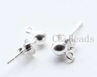2pcs (1 Pair) S925 Sterling Silver Ball Earring Posts-14mm (4mm Ball) (195)