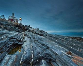 Pemaquid Lighthouse Photo Beach Decor Large Wall Art Maine Photography Coastal Wall Decor Oversized Print Navy Blue Grey Seascape Picture