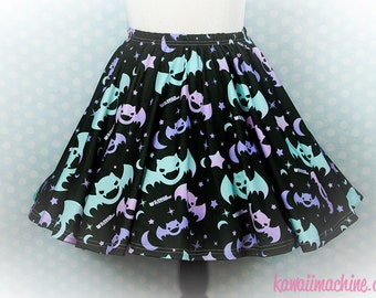 Graveyard Shift Printed Skater Skirt (Bats, Moons, Stars)  Fairy Kei Pastel Goth Kawaii