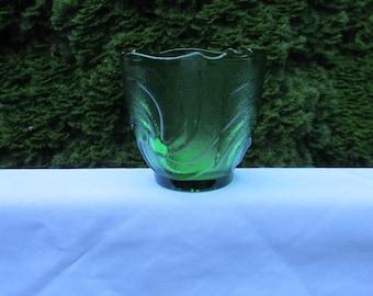 Vintage EO BrodyForest/Emerald Green Scalloped Swirled Glass Vase/Bowl