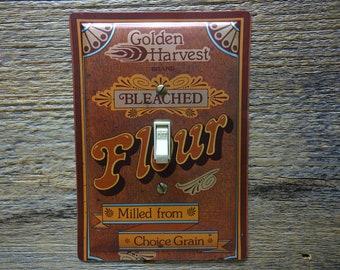 Light Switch Plate Retro 1970s Kitchen Decor Golden Harvest Flour Tin Lighting Switchplates SP-0387