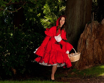 Little Red Riding Hood Dress and Hooded Capelet Cape Gothic Lolita Dress  Cosplay  Costume Halloween Custom Size including Plus