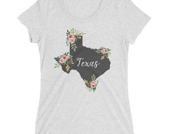 Texas Watercolor Flower Home State Tee Womens Short Sleeve Shirt