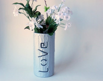 Silver colored Love Vase / wedding gift / valentines day / Home decor / gift of love