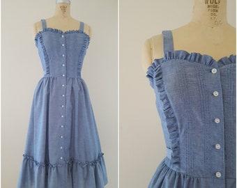 Vintage 1970s Dress / Blue Dress / Deadstock Cotton Denim Dress / Chambray / Small
