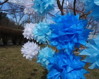 2 Dozen- 24 Small Starbursts Garland CONNECTING PuffScape Baby BOY Shades of Blue Ocean Kit DIY Tissue Paper Flower Pom Puff Shower Wedding