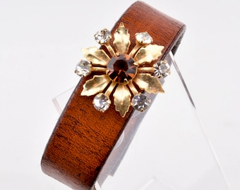 Leather Cuffs | Leather Cuff Bracelet | Leather Cuff Bracelets | Leather Cuff Bracelets For Women | Leather Wrist Cuff | Vintage Pin 28.99