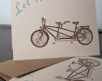 Lassen Sie uns - Tandem Fahrrad 6-Pack Gocco Siebdruck Einladungen