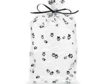 """10 New Paw Print Cello Bags 11""""H x 5""""W x 2 1/2"""" Dog Treat Bags, Cat Treat Bags"""