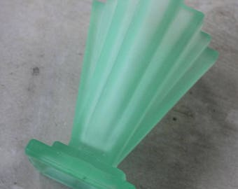 Bagley Green Glass Deco Vase