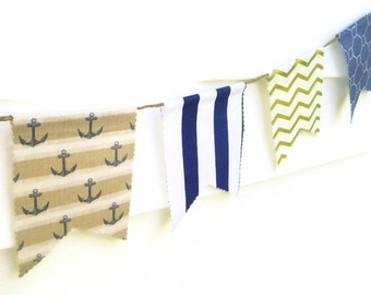 Nautical Bunting Banner,Gold & Navy Bunting Banner,Anchor Bunting Banner,Nautical Wedding Banner, Nautical Banner,Nautical Photography Prop
