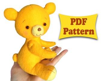 Felt Bear, Felt Pattern, Felt Doll Pattern, Felt Animal Patterns, Soft Felt Toy Pattern, PDF sewing patterns, PDF Pattern, Felt Animal