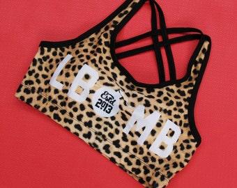 L-bomb Leopard Print Padded Sports Crop Bra size S
