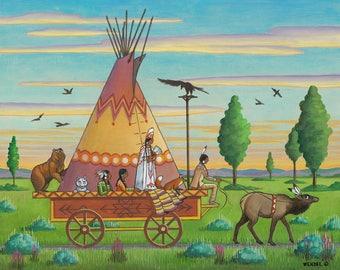 Pow Wow Princess - Giclée Print - Western Whimsicals by Marcia Wendel - Wall Art