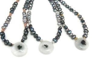 Solar quartz & freshwater pearl necklace//Gift for her//Women//Jewellery//Necklace//Gold vermeil//Solar Quartz//Pearls//Gemstones//