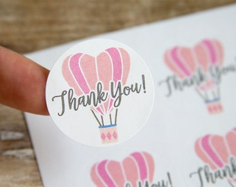 Thank You Stickers - Pink Hot Air Balloon Stickers - Thank You Labels -Packaging Stickers - Favor Stickers - Thank You Labels - 48 Pieces