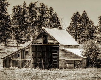 Montana,Kalispell,Barn,Sepia,Wall Art,Home Decor,Canvas Print Option,Old Barn