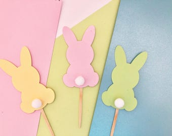 12 Easter Cupcake Toppers| Bunny toppers|Easter Toppers|Easter Bunny|Cupcake Toppers|Easter Decoration| Easter Bunnies