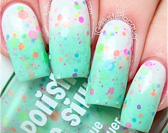 Minty Madness- -Color Changing Thermal Nail Polish:  Custom-Blended Indie Glitter Nail Polish / Lacquer