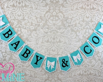Deluxe Baby & Co Banner Sign in Light Teal, Black and White - Baby Shower Banner, Designer Inspired - Additional Banners Available