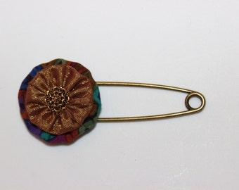 Gold Rust Teal Brown and Blue Metallic Print Fabric Yo Yo With Gold Filigree Button Shawl Pin