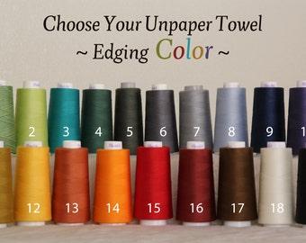 Unpaper Towel Organic Birdseye Cotton Unbleached Reusable -- Set of 18, Choose Your Edging Colour Thread