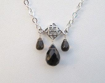 Smoky Quartz Necklace- Silver, Trio of Gemstones