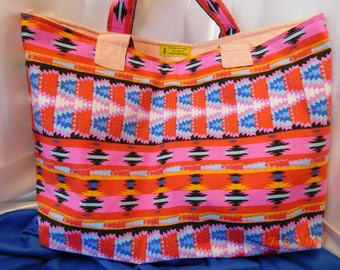 Bright pink multicolored Native Inspired Print tote