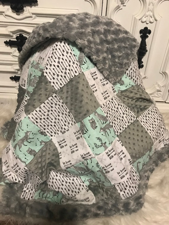 Woodland theme baby blanket , patch work , cuddle fur , chenille , minky , baby boy