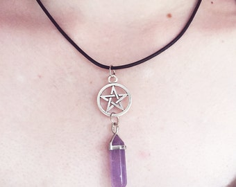 Crystal Pentacle Necklace/ Pentacle Necklace/ Crystal Point Necklace/ Quartz Crystal/ Amethyst/ Rose Quartz/ Howlite/ Yoga Necklace