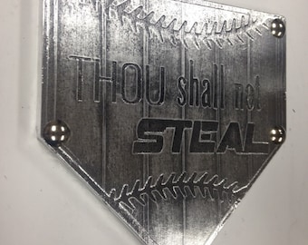 THOU SHALL Not STEAL Home Plate custom team name plaque trophy award wall art champion sign gift metal personalized baseball softball