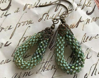 Teal Bead Crochet Rope Earrings with Brass Ear Wires