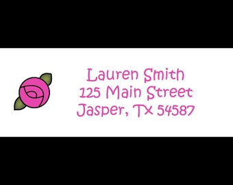 30 Return Address Labels     Personalized     Fuchsia and Green