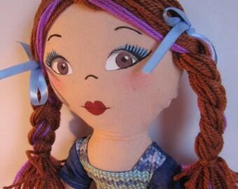 Fabricdoll - Teen doll - Girl with braids