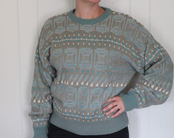 Vintage 90's Over-Sized Sweater - Cosby Sweater - Geometric - Baggy - Baby Blue - Mens XL - by Sasson
