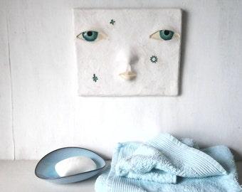Baby face wall art sculpture, white ceramic head tile, cute Kawaii new baby art gift, nursery decor