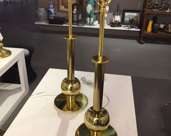 Mid-century gold Stiffel table lamps Tommi parzinger style