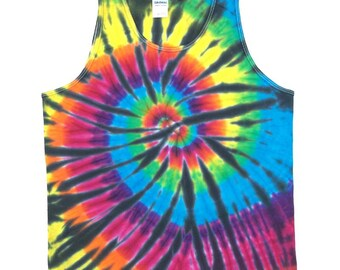 Tie Dye Tank Top - Spiral Black
