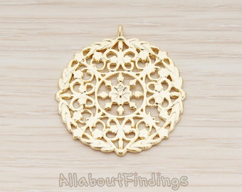 PDT1106-MG // Matte Gold Plated Round Gothic Texture Pendant, 2 Pc