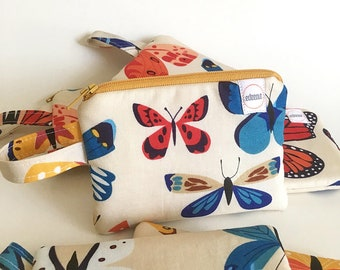Butterfly zipper pouch, Coin purse, pocket wallet, Change purse, cash wallet, mini earbud case,padded small, spring,lizzy house, mothers day