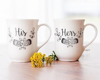His & Hers Couple Mug Set