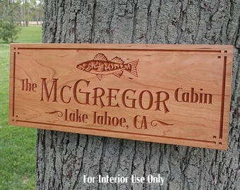 Cabin Sign, Lake House Sign, Custom Cabin Sign, Benchmark Custom Signs, Welcome To The Lake Sign, Benchmark Signs, Cherry TS