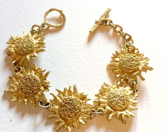 """Bracelet 5 SUNFLOWERS signed """"Once upon a time"""" on the clasp"""