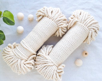 Natural* cotton rope, macrame cord, 60 meters, 5mm, 200 feet, coloured cotton, craft supplies, weave, tapestry, basketry